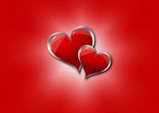 Hearts on a red background. Graphic illustration of two hearts on a red background Stock Photography