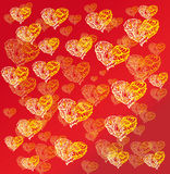 Hearts on red background Stock Photos