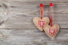 Hearts with red bow Stock Photo