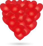 Hearts in red, hearts and love background Stock Image