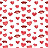 Red hearts and lips seamless pattern, watercolor illustration royalty free illustration