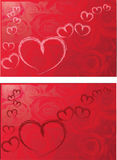 hearts with red roses background illustration Royalty Free Stock Photography