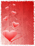 Hearts on the red splotchy background Royalty Free Stock Photo