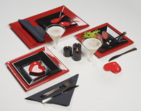 Hearts red table set. With some food and drink Royalty Free Stock Photos