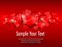 Hearts on red & text Royalty Free Stock Images