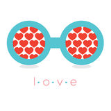 Hearts Reflection Eyeglasses Royalty Free Stock Images