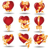 Hearts ribbon. There are hearts with ribbons Stock Image