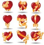 Hearts ribbon Stock Image