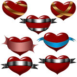 Hearts and ribbon stock photos