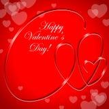 Hearts ribbon. Valentine card Royalty Free Stock Image