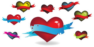 Hearts in ribbons. Various colored hearts in ribbons Stock Photos