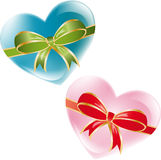 Hearts with ribbons. On  a white background, vector illustration Royalty Free Stock Image
