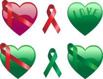 Hearts with Ribbons. In red and green Royalty Free Stock Photography