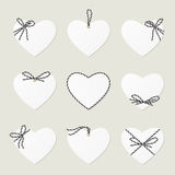 Hearts with ribbons ahd bows in twine style Royalty Free Stock Photos