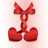Hearts and ribbons. Background with two hearts, ribbons and bow Stock Photography