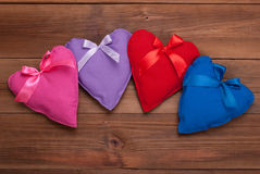 Hearts with ribbons of different colors Stock Photo