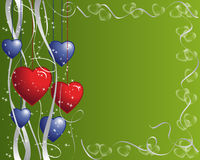 Hearts and Ribbons Frame. Red and blue hearts  frame with white ribbons and sparkles on a green background Stock Image