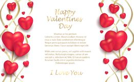 Hearts and ribbons gold on a white background, greeting card to Valentine`s Day for lovers royalty free illustration