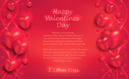 Hearts and ribbons on a red background, greeting card to Valentine`s Day for lovers vector illustration