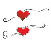 Hearts and ribbons. Set with two decorative hearts and ribbons Royalty Free Stock Image
