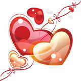 Hearts with ribbons, valentine background Royalty Free Stock Photos
