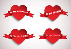 Hearts with ribbons. Valentine's Day hearts with ribbons Royalty Free Stock Photos