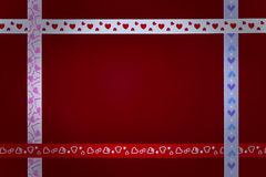 Hearts ribbons. Valentines Day background with Hearts and ribbons with copy space Stock Images