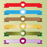 Hearts with ribbons vector Stock Photography