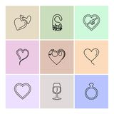 Hearts , romantic , love , valentine , rose , flowers , eps icon. Hearts , romantic , love , valentine , rose , flowers , perfume , pleasent , heart , loveable Royalty Free Illustration