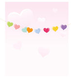 Hearts on a rope Stock Photos