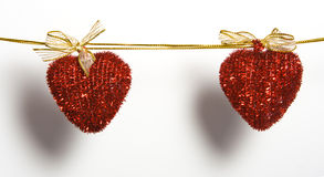 Hearts on rope Royalty Free Stock Images
