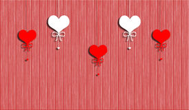 Hearts on a rope on the  abstract wooden background Stock Photography