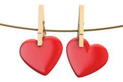 Hearts on rope with clothespin, valentine`s day concept. 3D rend. Hearts on rope with clothespin, valentine`s day concept. 3D Stock Photography