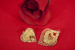 Hearts and Rose Stock Image