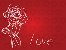 Hearts and rose background Stock Photos
