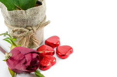 Hearts and A Rose. Green heart and red hearts with a rose Royalty Free Stock Photo