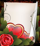 Hearts, rose and parchment. Valentine card Stock Photo