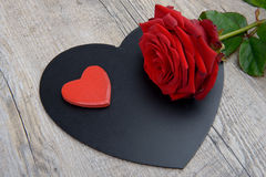 hearts with rose for Valentine's Day Stock Image