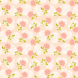 Hearts and Roses. Continuous Pattern of Pink Roses and White Lacey Hearts Stock Photography
