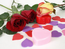 Hearts and Roses Royalty Free Stock Images
