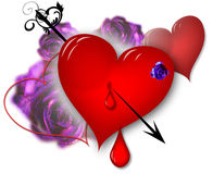 Hearts and roses Royalty Free Stock Photography