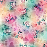 Hearts and roses pattern on grunge blurred Stock Images