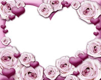 Hearts and roses photo frame. Hearts and roses frame the image in the shape of a heart. Insert your photo. Clipping path included Stock Photos