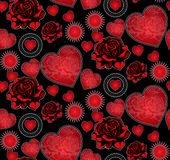 Hearts and roses seamless pattern Royalty Free Stock Photos