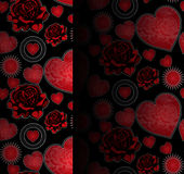 Hearts and roses seamless pattern Stock Images