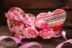 Hearts and roses Stock Image