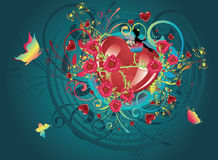 Hearts and Roses Stock Images