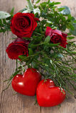 Hearts with roses Stock Photos