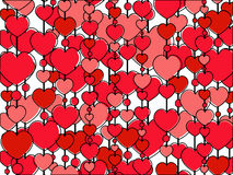 Hearts rows. Vertical rows of red and pink hearts Royalty Free Stock Photography
