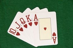 Hearts royal flush Royalty Free Stock Images